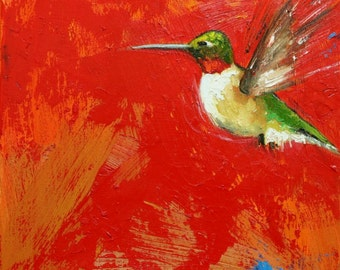 Bird painting 251 Hummingbird 12x12 inch portrait original oil painting by Roz
