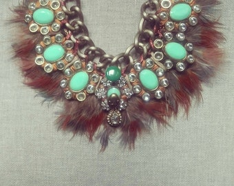 Swan Granny, Folk Feather Necklace inspired by a Fairytale.