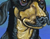 ACEO ATC Dachshund Doxie Original Gouache Painting Pet Dog Art-Carla Smale