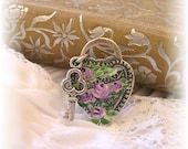Victorian Silver Ring Hand Painted Shabby Chic Purple Roses Enamel Flowers Key Charm Ring Vintage Ring Adjustable Lock Antique Style Ring