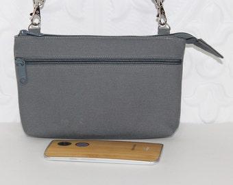 Crossbody Wristlet Wallet, Cell Phone Purse Wallet / iPhone 6 Plus Otterbox Wristlet Wallet / Samsung Galaxy Note Purse / Slate Gray Canvas