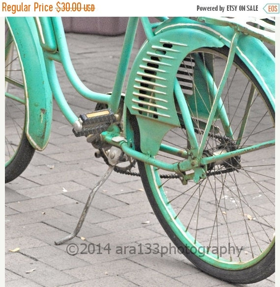 50 off sale cottage chic teal blue bicycle by for Home decor 50 off