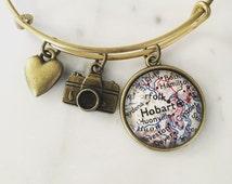 Hobart Tasmania Map Charm Bracelet - Personalized Map Jewelry - Travel - Wanderlust - Vacation - Australia