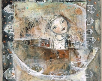 SALE  SPECIAL PRICE!! Free Shipping Mixed media painting print woman owl friend encourage boat journey ocean