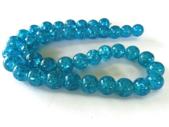 Bright Sky Blue Bead Crackle Glass Beads 10mm Round Beads