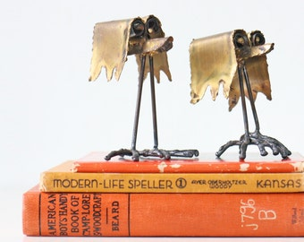 Vintage Brutalist Birds Sculpture, Set of 2, Signed, 1978