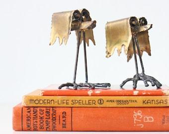 Vintage Brutalist Birds Sculpture, Set of 2, Signed, 1978