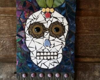 """SOLD * Day Of The Dead Mosaic Original Artwork- """"El Mundo"""" - Handmade Mixed Media Mosaic Skull Art"""