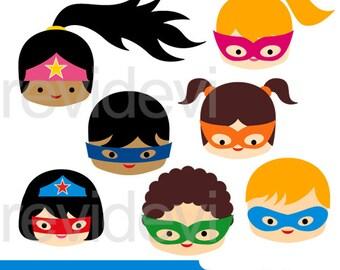 Superhero clip art - Superhero head kids clipart digital - superhero digital images clipart