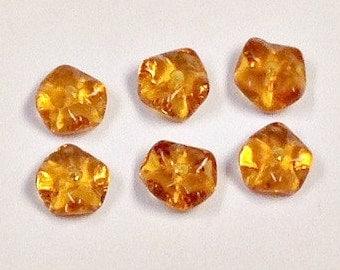 VINTAGE GERMAN Glass Spacer Beads ORANGE Ruffled Edge 7x4mm pkg 6 gl341