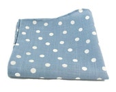 Pocket Square , Baby Blue Polka Dot , Accessories , Suit Handkerchief , Hand Rolled  , Gift for Him , Mens Gift , Gift for Guy