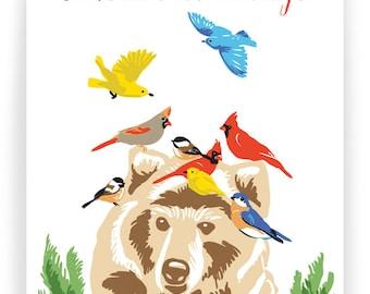 Season's Greetings Bear and Birds - Box of 8 cards