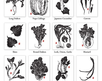"Save 20%! Set of 4 Japanese Vegetable 11""x14"" Letterpress Art Prints"