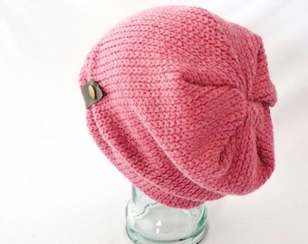 Women's Wool Slouchy Hat in Amaranth Pink : Womens Hats, Boho Hat, Pink Beanie, Knit Wool, Gift for Her, Comfy Hat, Cozy Hat, Winter Style
