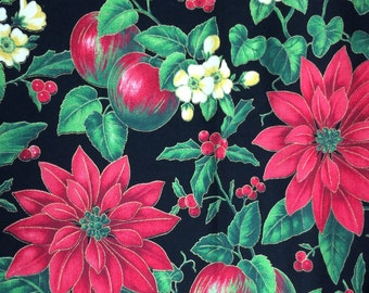 Christmas poinsettia fabric - 14 inches x 55 inches