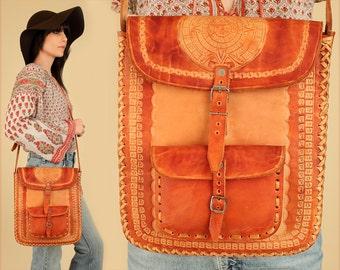 ViNtAgE 60's 70's Hand Tooled LEATHER Messenger Bag // Large Crossbody Artisan Poet's Satchel // Mayan Handbag Purse // Buckle Strap