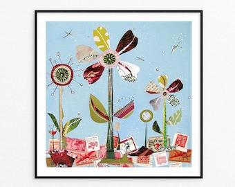 Summer Floral Art Print -  Wall Art - Fine Art Print - Collage Art - Gifts for Her - Housewarming Gift - Under 25 -Sending Summer to You-8x8