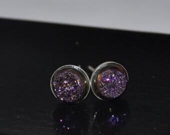 Purple Earrings, Purple Druzy, Silver Earrings, Quartz Titanium Druzy beads, Sterling Silver, 8mm stone, Bridal Earrings, Druzy earrings
