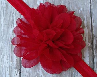 Red Chiffon Baby Headband Red Baby Headband Red Flower Headband Red Shabby Chic Baby Headband Red Newborn Headband Christmas Headband