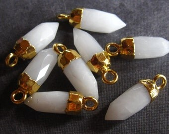 Matching pair of faceted White Quartz point stones -  briolette set in gold plate - 17mm X 5mm