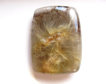 Golden Rutilated Quartz Cabochon - rectangle - double sided - 38mm X 26mm