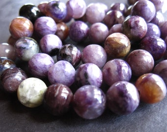 Smooth Charoite semiprecious stone beads - rounds - 8mm - 8 beads