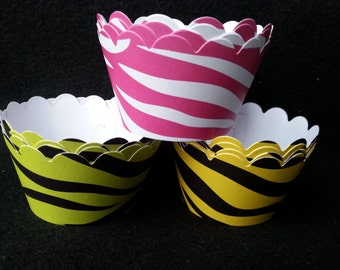 Custom Tiger Stripes Cupcake Wrappers