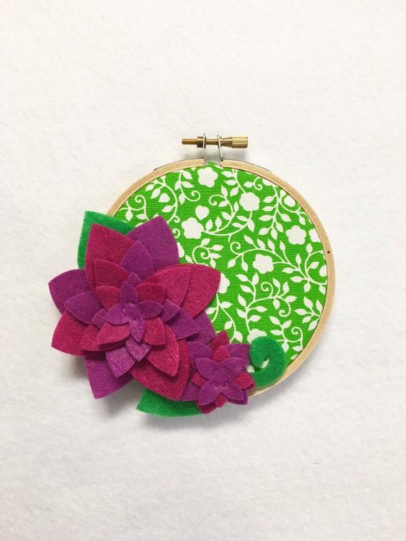 Fabric Wall Art, Embroidery Hoop Art, Juicy ,Floral Wall Decor, Hoop Wall Hanging, Felt Flower Hoop, Wedding Decor