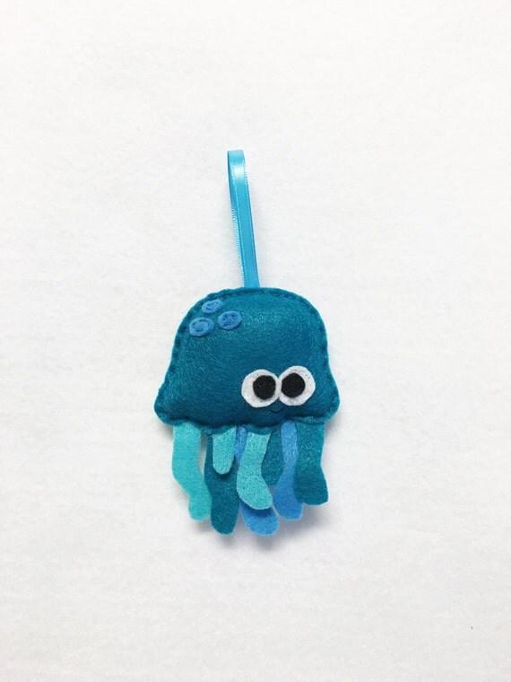Ornament, Jelly Fish Ornament, Christmas Ornament, Burt the Teal Jellyfish, Ocean Animal, Felt Animal