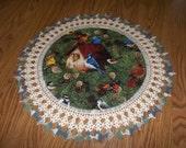 Crocheted Bird House Doily with Cardinals Blue Bird Blue Jay Robin Woodpecker Chickadees Pine Cones Fabric Center Crocheted Edge 20 Inches