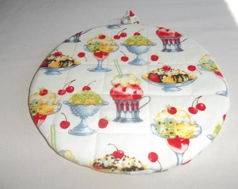 Ice Cream Sundaes, Hot Pad, Hot Pads, Pot Holder, Pot Holders, Potholder, Potholders, Round, Quilted, Cotton, 9 Inches, Gift for Mom