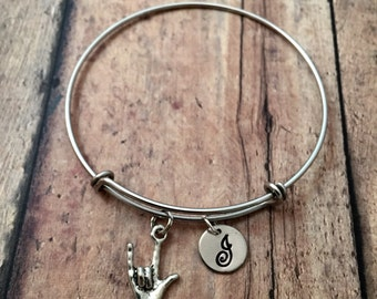 ASL 'I love you' initial bangle - I love you bracelet, sign language bracelet, ASL bracelet, sign language bangle, ILY bracelet