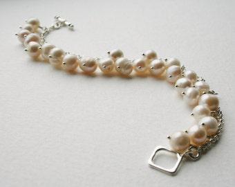 Freshwater Pearl Sterling Silver Charm Bracelet Simple Elegance