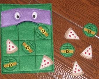 D Turtle tic tac toe felt on the go game and pieces