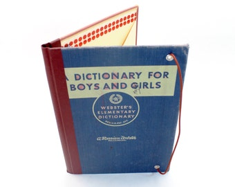 Refillable Journal Cover - Vintage Children's Dictionary Book Cover