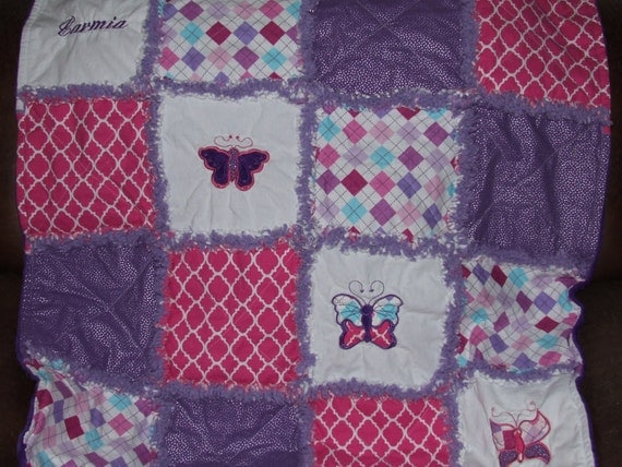 Custom Personalized Butterfly Baby Teen Rag Quilt Appliqued Butterflies Pink n Purple Minky Backing Sooo Soft! Made to Order