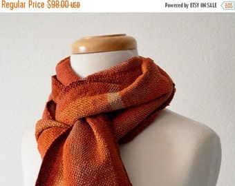 Sale Handwoven Autumn Spice Scarf - Son of Spice Scarf - Rust Orange, Hunter Orange, Deep Red, Gold. Cotton & Linen, Vegan Friendly, Fall Fa