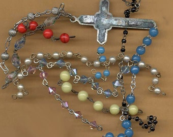 more vintage rosary bead remnants antique parts colorful assortment old rosary chain pieces TEN colors