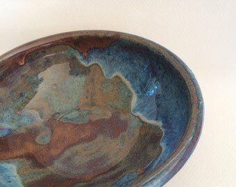 blue bowl - ceramic bowl-pottery serving bowl- handmade-  bowl- B88