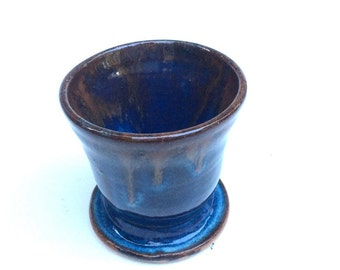 SMALL little blue cup/shot glass/ serving/handmade- ceramic- pottery, ready to ship