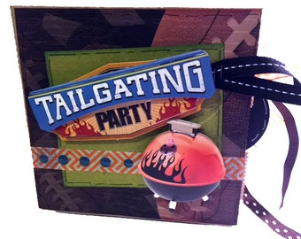 Tailgating Football Scrapbook - Paper Bag Photo Album - Sports Scrapbook