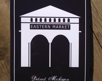 "Eastern Market 11""x14"" print, instant download, printable, wall decor, black, white, architecture, art, silhouette, Detoit,landmark,downtown"