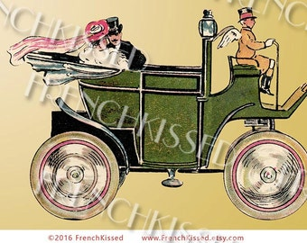 Just Married Wedding Honeymoon Summer Vacation Trip Green Jalopy  Roadster Antique Automobile Driven by Angel Customizable 2 Digitals