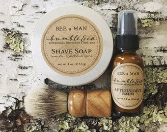4 Shaving Sets with Shave Brush | Natural Shave Soap | Aftershave | Man Shaving Gift | Wedding Party Gifts | Men's Skincare | Father's Day