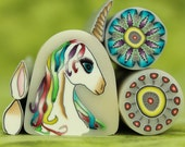 Unicorn plus Matching Polymer Clay Canes -'Mystical Meadow' (DD)