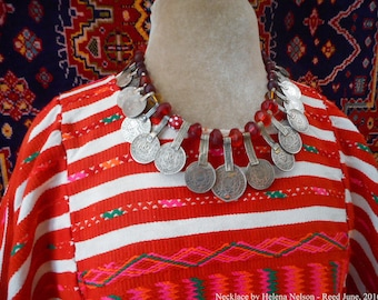 Nomad  Wanderer necklace, old Moroccan Berber coin pendants, old vintage beads