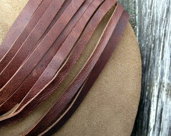 Copper Sparkle Taupe Suede Leather Wristlet with Fringe by Stacy Leigh Ready to Ship