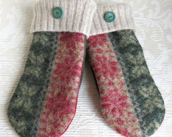 Repurposed Sweater Wool Mittens in Forest Green, Tan and Persimmon, Adult Size