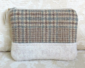 Menswear Plaid and Cream Wool Zip Pouch, Small Clutch in Recycled Wool