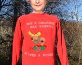 vintage 80s CHRISTMAS sweatshirt creature stirring moose applique raglan crewneck Medium Large wtf